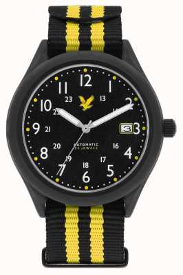 Lyle & Scott Mens Stealth Automatic Black Yellow Nato Strap Black Dial LS-6006-01
