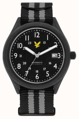 Lyle & Scott Mens Stealth Automatic Black Grey Nato Strap Black Dial LS-6006-03
