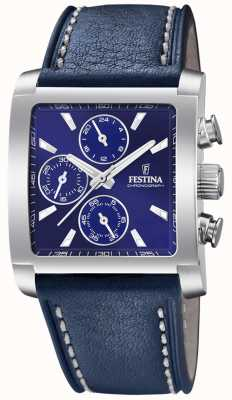 Festina | Mens Stainless Steel Chronograph | Blue Leather Strap | F20424/2