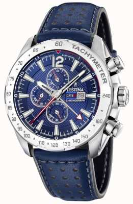 Festina | Mens Chronograph & Dual Time| Blue Dial | Leather Bracelet F20440/2