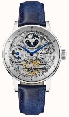 Ingersoll | Mens The Jazz | Blue Leather Strap | Skeleton Dial | I07702