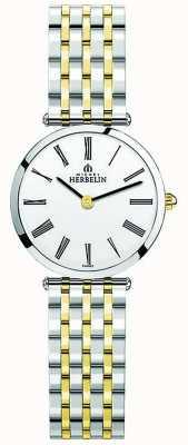 Michel Herbelin Womens Epsilon Two Tone Stainless Steel White Dial 17116/BT01N