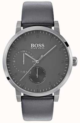 Hugo Boss Mens Oxygen Grey Leather Strap Grey Dial 1513595