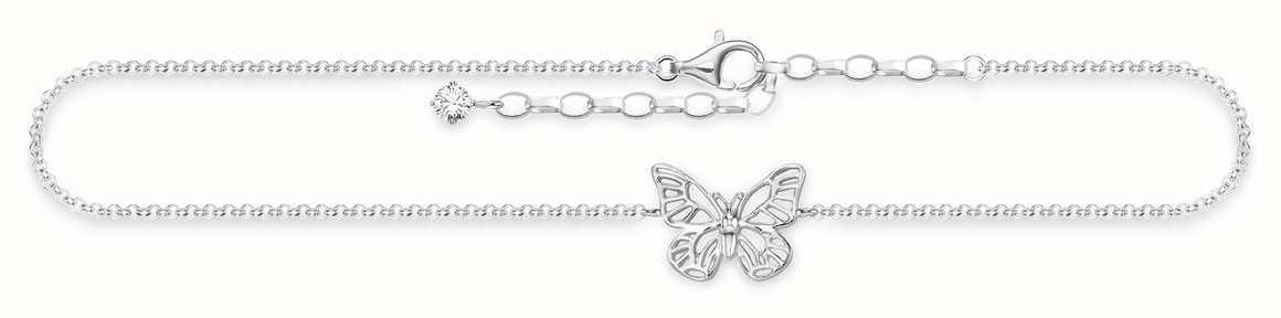 Thomas Sabo Butterfly Anklet 925 Sterling Silver/ White Zirconia 22-27cm AK0011-051-14-L27V