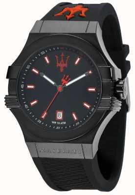 Maserati Potenza Black Dial Black Rubber Strap R8851108020