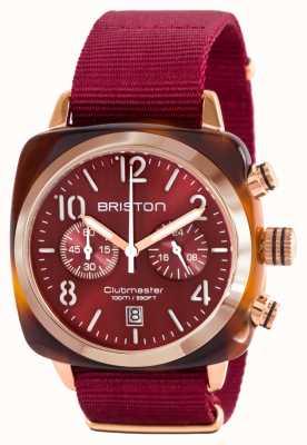 Briston Classic Clubman Acetate Gold Red Nato Strap 15140.PRA.T.8.NBDX