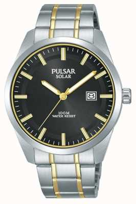 Pulsar Mens Solar | Two-Tone Stainless Steel Bracelet | Black Dial PX3169X1