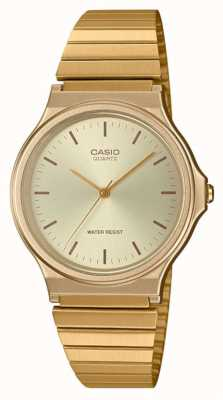 Casio | Vintage Round Watch | Expandable Bracelet | Gold Dial | MQ-24G-9EEF