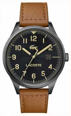 Lacoste | Mens Continental | Brown Leather Strap | Black Dial | 2011021