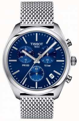 Tissot   Mens PR100 Chronograph   Mesh Bracelet   Blue Dial   T1014171104100