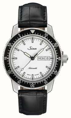 Sinn 104 St Sa I W Classic Pilot Watch Alligator Embossed Leather 104.012 BLACK EMBOSSED LEATHER BLACK STITCHING