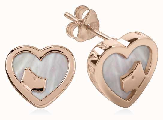 Radley Jewellery Rose Gold Mother Of Pearl Heart Stud Earrings RYJ1066