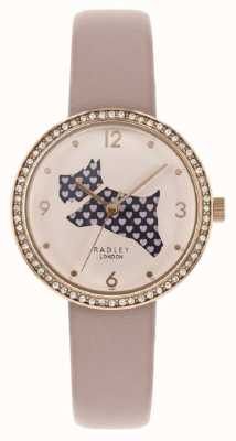 Radley | Womens Pink Leather Strap | Cut Out Dog Dial | Crystal Set RY2806