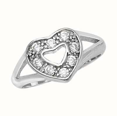 Treasure House Silver Ladies Cubic Zirconia Heart Ring G7519