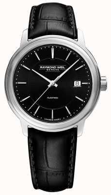 Raymond Weil Mens | Maestro | Automatic | Black Dial | Black Leather 2237-STC-20011