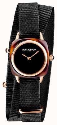Briston | Clubmaster Lady | Single Black Nato | Rose Gold PVD Case | 19924.SPRG.M.1.NB