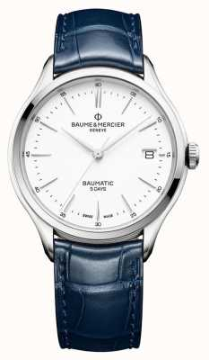 Baume & Mercier | Mens Clifton | Baumatic | Blue Leather | White Dial | BM0A10398