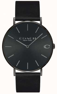 Coach | Mens | Charles | Black Leather Strap | Black Dial | 14602434