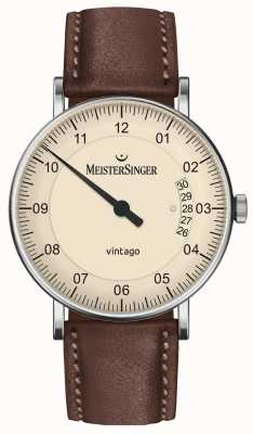MeisterSinger | Mens Vintago | Automatic | Brown Leather | Cream Dial | | VT903