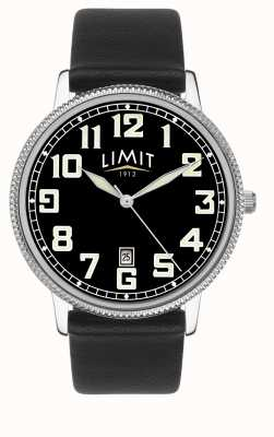 Limit | Mens Black Leather Strap | Black Dial | 5747.01