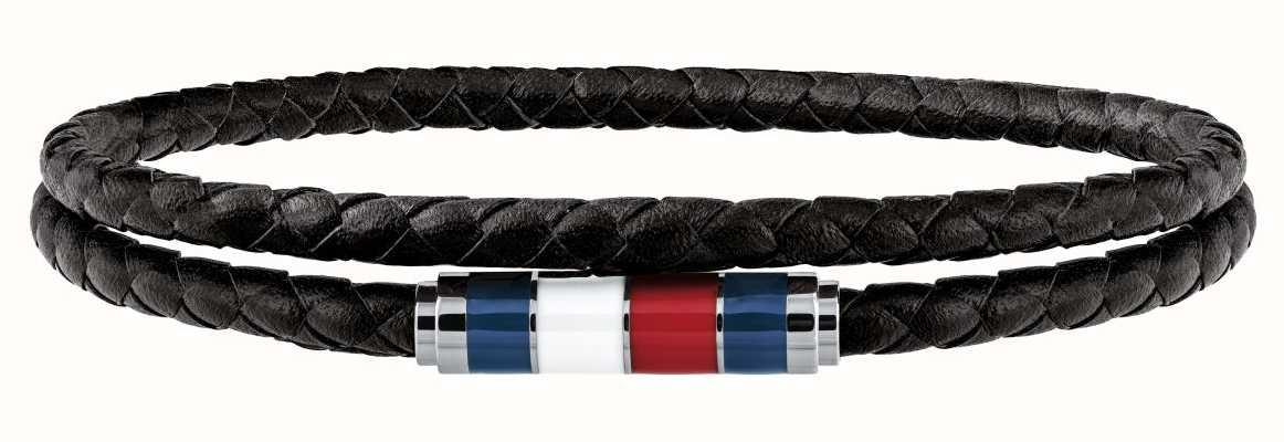 Tommy Hilfiger Mens Black Leather Double Wrap Bracelet 2790056