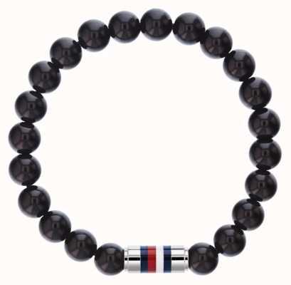 Tommy Hilfiger Mens Black Onyx Beaded Bracelet 2790068