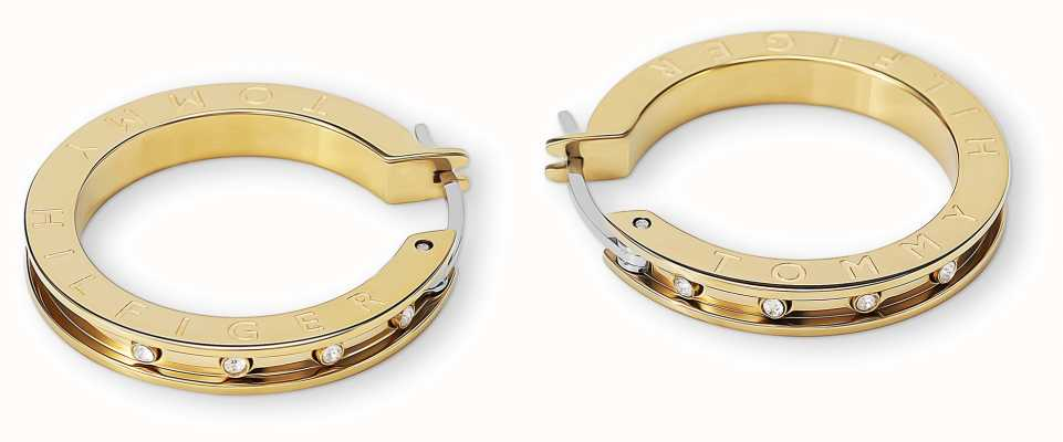 Tommy Hilfiger Womens Gold Plated Stainless Steel   Crystal Set Earrings 2780206