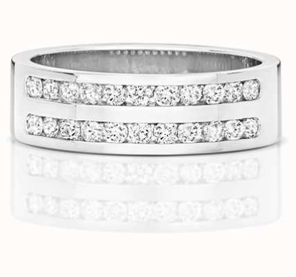 Treasure House 9k White Gold Diamond Set Double Row Half Eternity Ring RD553W