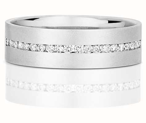 Treasure House 9k White Gold Mens Half Eternity Diamond Channel Ring RD718W