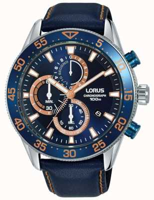 Lorus | Mens Chronograph | Blue Bezel | Blue Leather | Blue Dial | RM341FX9