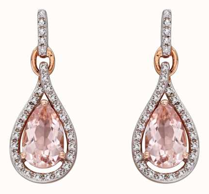 Elements Gold 9k Rose Gold Morganite And Diamond Teardrop Earrings GE2272P