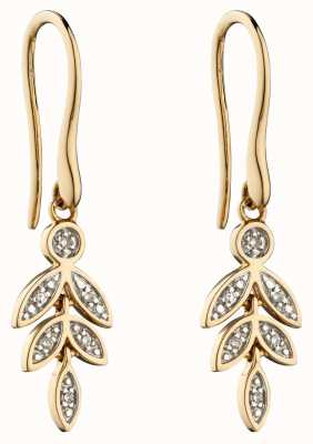 Elements Gold 9k Yellow Gold Graduating Leaf Earrings GE2279
