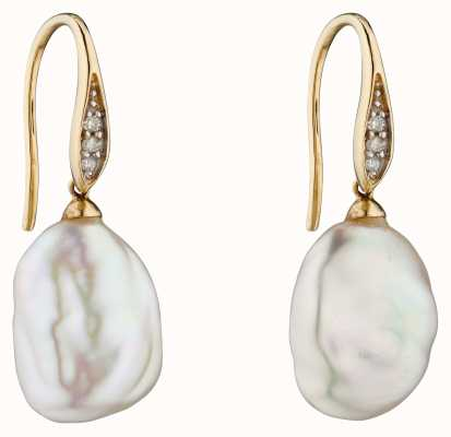 Elements Gold 9k Yellow Gold Baroque Pearl And Diamond Drop Earrings GE2290W