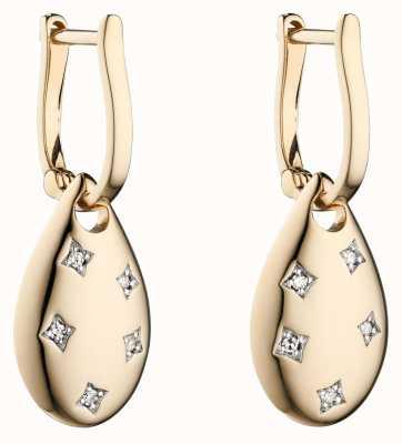 Elements Gold 9k Yellow Gold Cut Out Diamond Drop Earrings GE2299