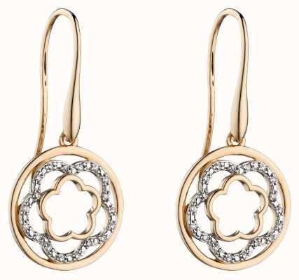 Elements Gold 9k Yellow Gold Diamond Flower Drop Earrings GE2301