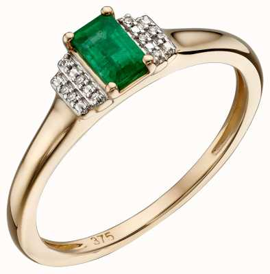 Elements Gold 9k Yellow Gold Emerald Diamond Deco Ring GR567G