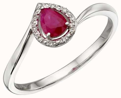 Elements Gold 9k White Gold Diamond Ruby Ring GR568R