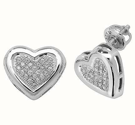 Treasure House 9k White Gold Diamond Heart Stud Earrings ED107W