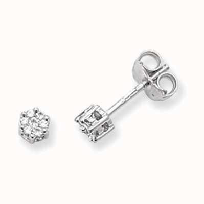 Treasure House 9k White Gold Illusion Set Diamond Stud Earrings ED112W