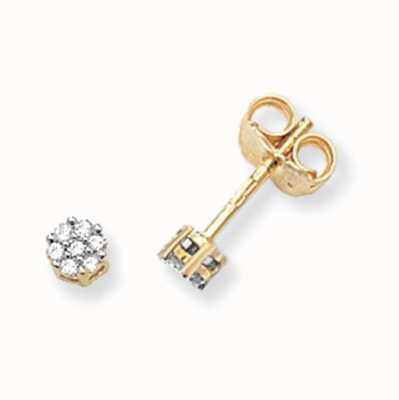 Treasure House 9k Yellow Gold Illusion Set Diamond Stud Earrings ED113