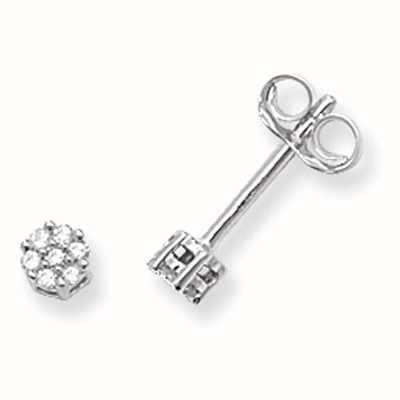 Treasure House 9k White Gold Illusion Set Diamond Stud Earrings ED113W