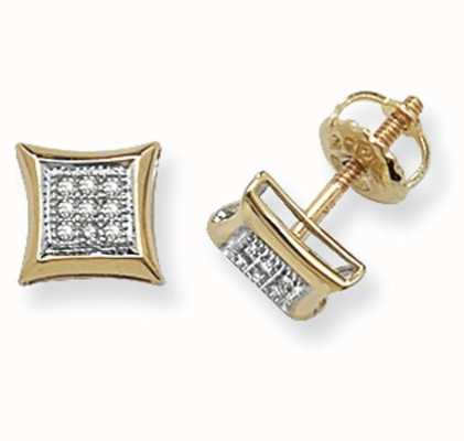 Treasure House 9k Yellow Gold Square Diamond Set Stud Earrings ED126