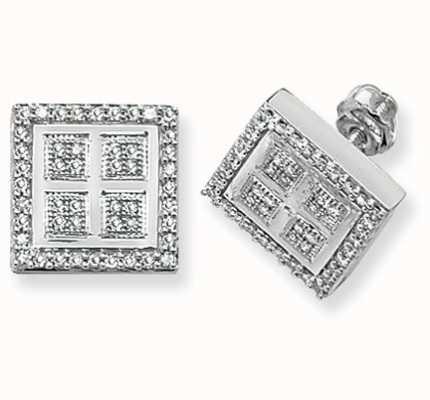Treasure House 9k White Gold Square Diamond Set Stud Earrings ED132W