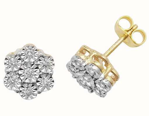 Treasure House 9k Yellow Gold Illusion Set Diamond Flower Stud Earrings ED161
