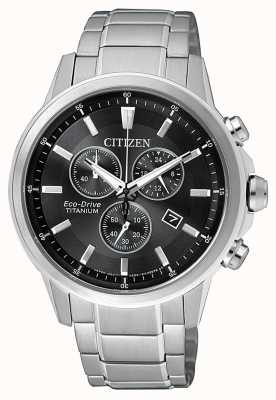 Citizen | Mens Eco-Drive Titanium WR100 | Black/Grey Dial | AT2341-88E
