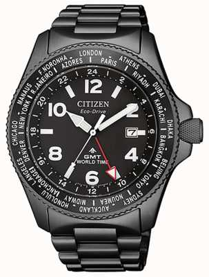 Citizen | Mens Eco-Drive Promaster GMT |Black Dial | Grey PVD BJ7107-83E