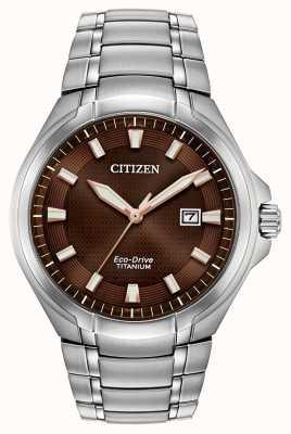 Citizen Mens Paradigm Eco-Drive Titanium Brown Dial Watch BM7431-51X