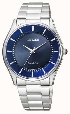Citizen   Mens Eco-Drive   Stainless Steel Bracelet   Blue Dial   BJ6480-51L