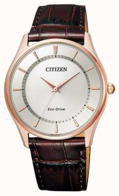 Citizen   Mens Eco-Drive   Brown Leather Strap   Silver Dial   BJ6483-01A