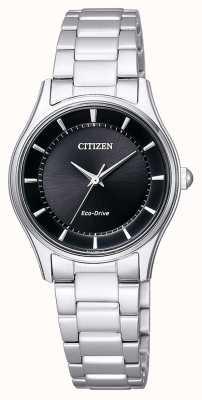 Citizen   Womens Eco-Drive   Stainless Steel Bracelet   Black Dial   EM0401-59E
